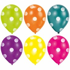 6 Ballonnen diverse kleuren met stippen