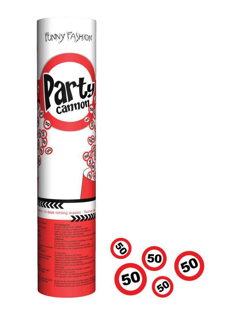 Confetti kanon 20cm traffic 50 jaar
