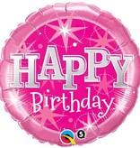 Roze Verjaardagsballon Happy Birthday 46cm