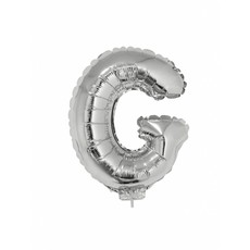Folieballon zilver letter 'G' met rietje