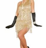 Gouden Charleston kostuum franjes