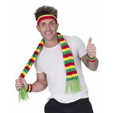 Zweetband set Carnaval rood/geel/groen