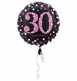 FolieBallon 30 jaar happy birthday pink 43cm