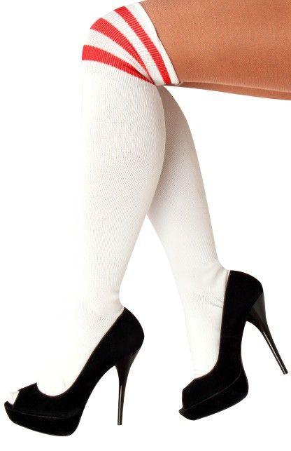 Cheerleader sokken wit/rood