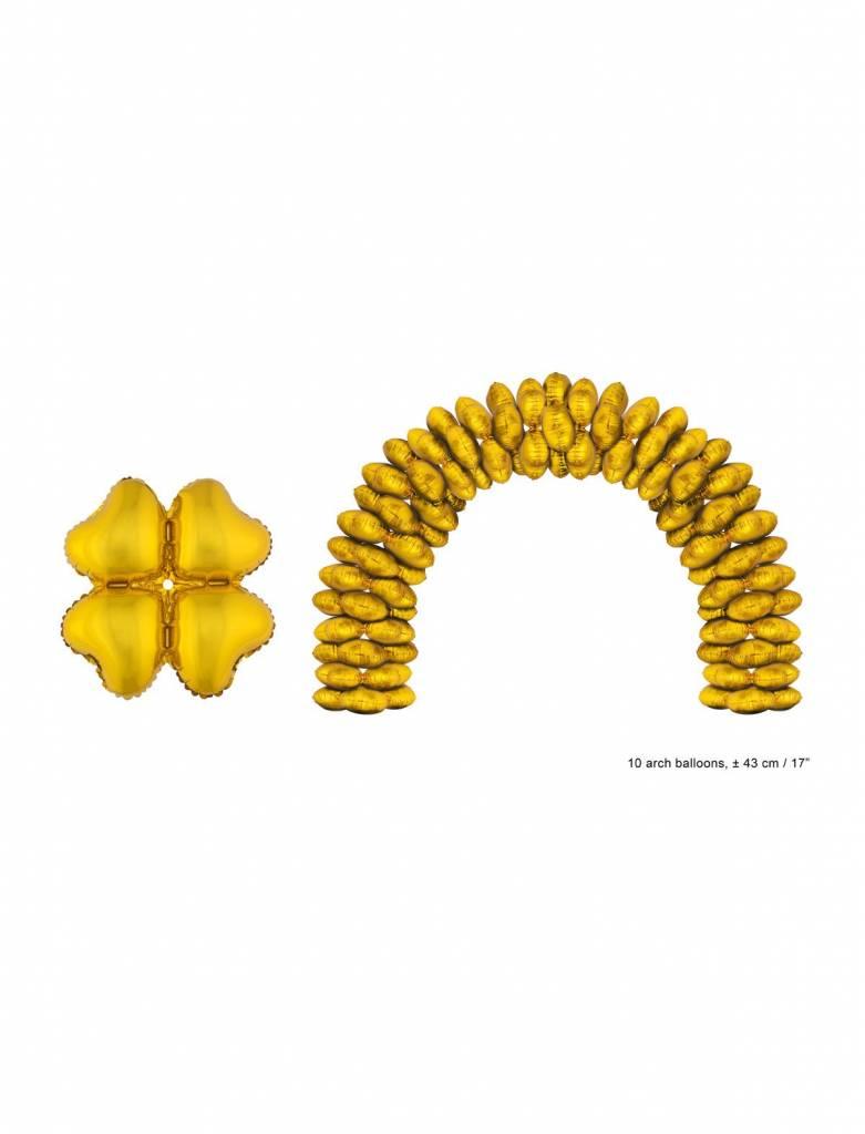 Gouden folie ballonnen hartvormig - 10 stuks