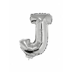 Folieballon zilver letter 'J' met rietje