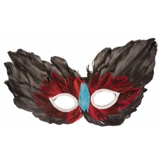 Oogmasker pluim zwart