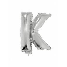 Folieballon zilver letter 'K' met rietje