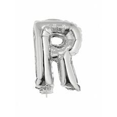 Folieballon zilver letter 'R' met rietje