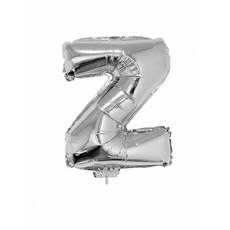 Folieballon zilver letter 'Z' met rietje