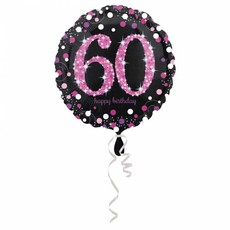 FolieBallon 60 jaar happy birthday Pink 43cm
