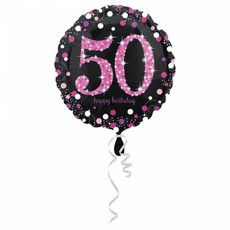 FolieBallon 50 jaar happy birthday pink 43cm