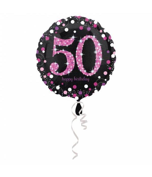 FolieBallon 50 jaar happy birthday pink 43cm