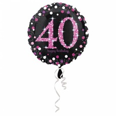 FolieBallon 40 jaar happy birthdday pink 43cm