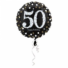FolieBallon 50 jaar happy birthday zilver 43cm