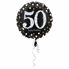 FolieBallon 50 jaar happy birthdday zilver 43cm