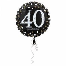 FolieBallon 40 jaar happy birthday zilver 43cm