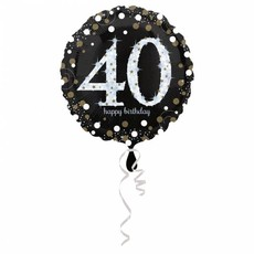 FolieBallon 40 jaar happy birthdday zilver 43cm