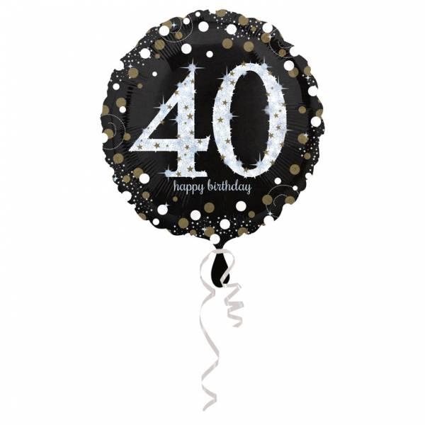 FolieBallon 40 jaar happy birthdday zilver 43cm