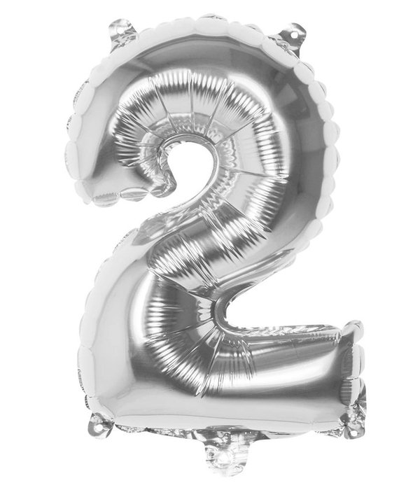 Zilveren folieballon cijfer '2' 36cm