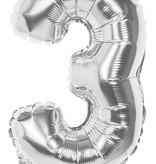 Folieballon zilver cijfer '3' 36cm