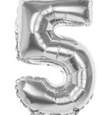Folieballon zilver cijfer '5' 36cm