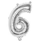 Folieballon zilver cijfer '6' 36cm
