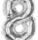 Folieballon zilver cijfer '8' 36cm
