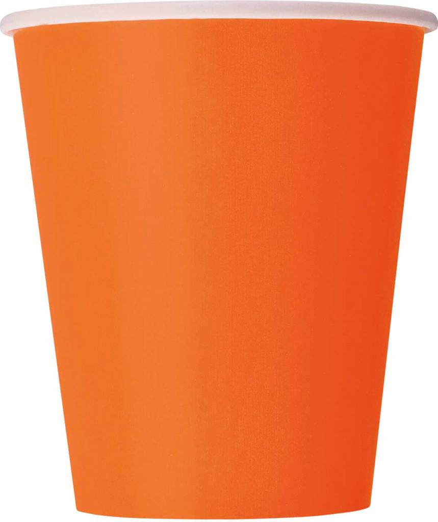 Oranje bekers karton - 14 stuks