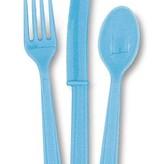 18 stuks lichtblauwe bestek assorti