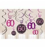 60 jaar hangdecoratie swirls mix pink