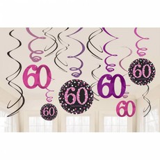 60 jaar hangdecoratie swirls mix pink