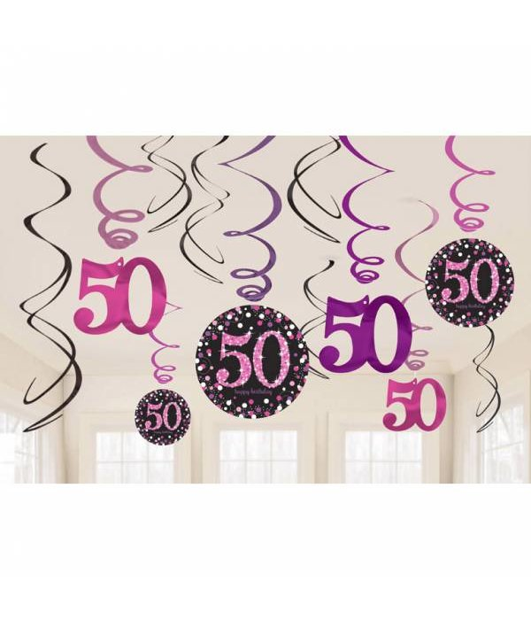 50 jaar hangdecoratie swirls mix pink