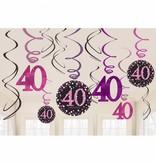 40 jaar hangdecoratie swirls mix pink