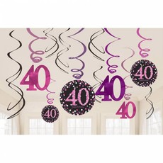40 jaar hangdecoratie swirls mix pink