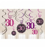 30 jaar hangdecoratie swirls mix pink