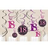 18 jaar hangdecoratie swirls mix pink