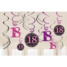 18 jaar hangdecoratie swirls mix pink