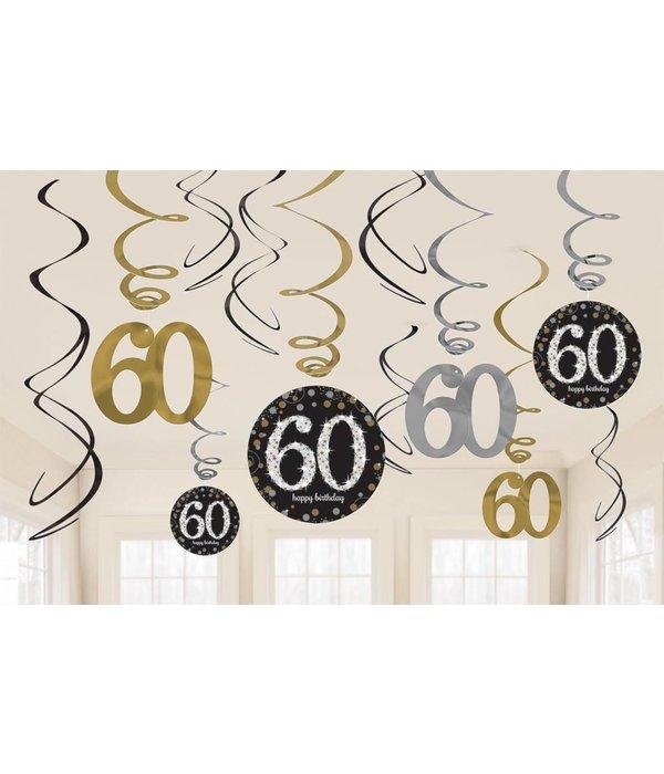60 jaar hangdecoratie swirls mix zilver/goud