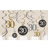 30 jaar hangdecoratie swirls mix zilver/goud