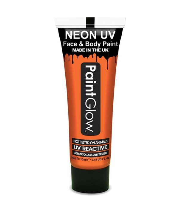 Neon Face & Body paint oranje UV Glow in dark 10ml
