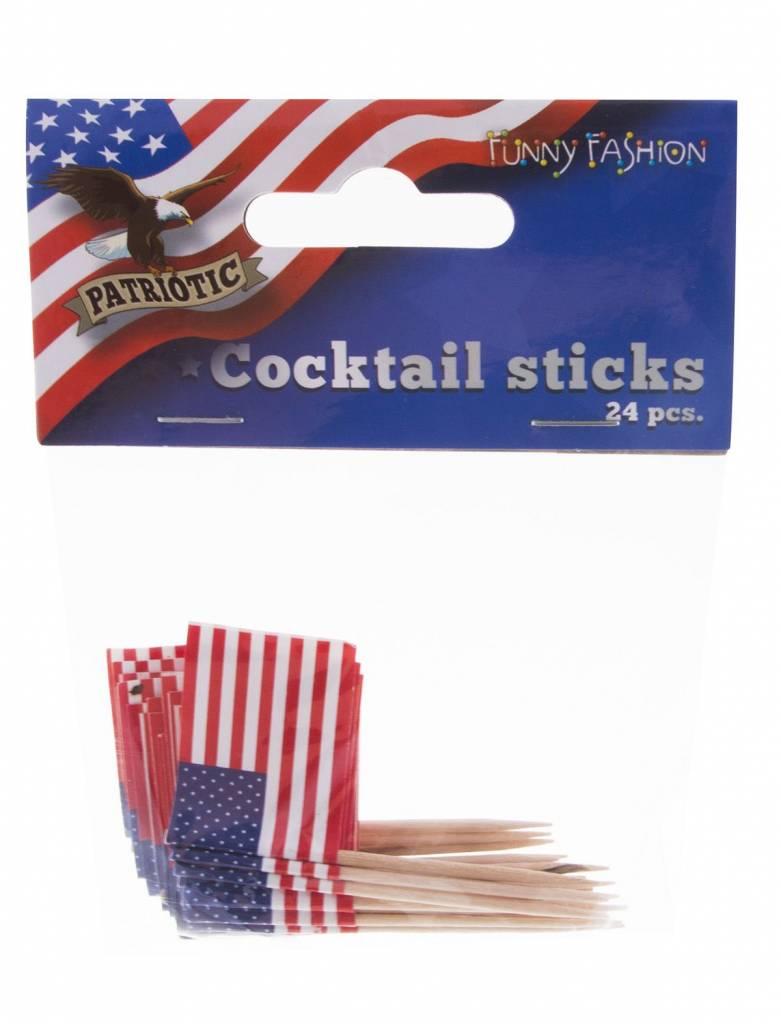Cocktailprikkers USA Amerika - 24 Stuks