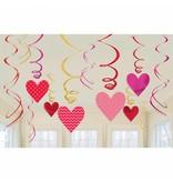 Swirl hangdecoratie hartjes Valentijn mix
