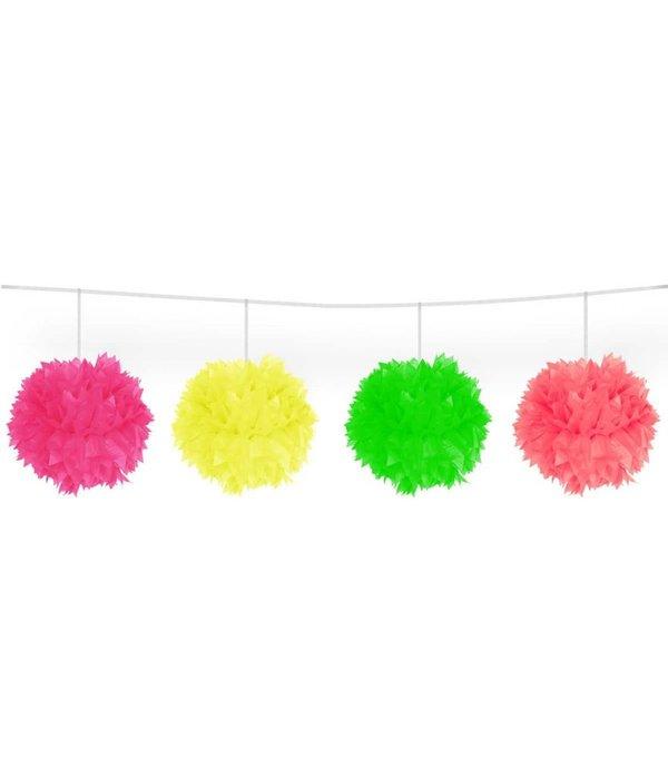Meerkleurige Neon slinger pompom - 3 meter