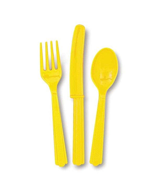 18 stuks gele bestek assorti