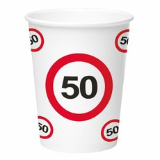 Papieren bekers verkeersbord 50