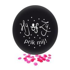 Grote Ballon Gender Reveal Hij of Zij Prik Mij met roze confetti