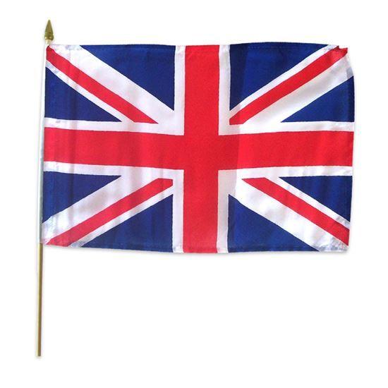 Vlag op stok stof UK Engeland (30x45cm)