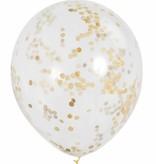 6 transparante ballonnen met gouden confetti