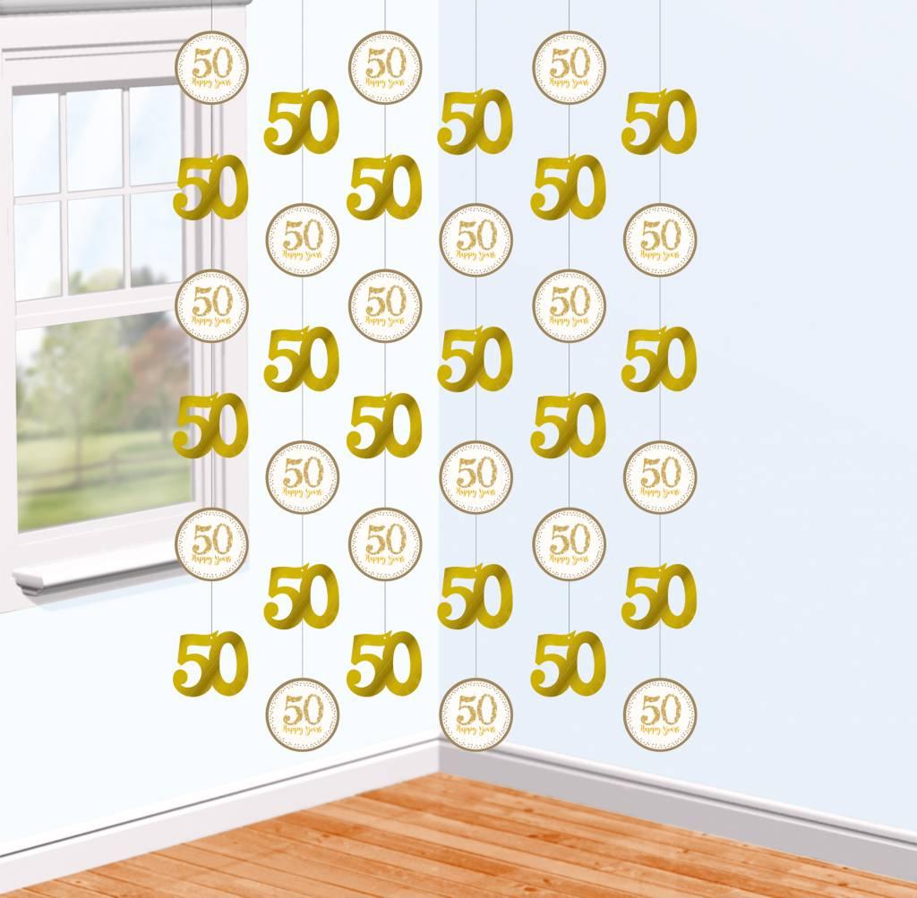 6 Stringen Decoratie 50 jaar jubileum goud